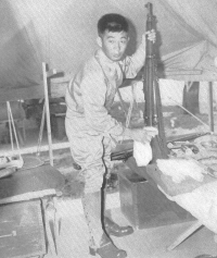 Prewar AJA soldier of either the 298th Inf. Regt. or the 299th Inf. Regt. of the Hawaii Territorial Guard stationed at Tent City, Schofield Barracks, Oahu. [U.S. Army Signal Corps]