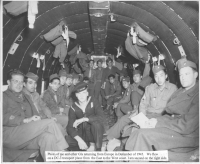 Moriso Teraoka (second in from right) and other GIs returning from Europe on a DC-3 transport plane [Courtesy of Moriso Teraoka]