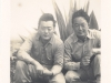 Ernest Enomoto (right) with friend at Camp McCoy, Wisconsin [Courtesy of Misao Enomoto]