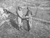 Soldiers show off shrapnel in Cassino, Italy, 1944. [Courtesy of Mary Hamasaki]