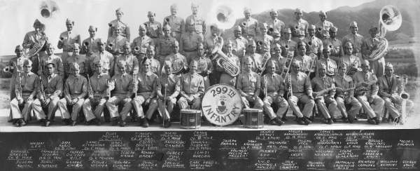 "299th Infantry Band Schofield Barracks March 1941  Bottom row, left to right: Joseph Kwon, John Kauanoe, George Kaokua, Jitsuei Yoshida, Edward Kualaau (Maui), John Spencer (Hilo), Sonny Kauinana, Capt. Fred L. Hartman (Hilo), W.O. Richard J. Macedo, Dick ""Sonny"" Saunders, Solomon Kalima, Anthony Labrador (Hilo), Richard Leandro, William Kuhaiki, George Kane  Second row, left to right: Raphael Garcia (Co. G. Hilo), Manuel Joseph (H.Q. Co. Hon), Alfred De Coito (Hilo), Harry Pokini (Co. K. Molokai), Joseph Kaina, Komao Harada, Albert Puu (Maui), Ichiji Kuroda, Edward Holstein (Molokai), Herbert Loo, David Beckley, William Werner, Edgar Waiau (Co. M. Kauai), Henry Ferreira (Kauai)  Third row, left to right: Wilson Lee, Sam Maio (Co. D. Maui), James Kitashima (Co. C. Maui), Abel Correa (Co. A. Maui), Oseas Boloyot (Co. J. Kauai), Anderson Camara, Domingo Alborao (Co. D. Maui), Joseph Paahao, Sam Kamakea (Co. F. Hilo), ""Big inner"" ? (H.Q. Co. Hon), Joseph Pico (Co. B. Maui), Leslie Hanamaikai (Co. C. Maui), David Kama (Co. F. Hilo), August Rawlins (Co. K. Molokai), Moses Palama  Top row, left to right: Elias Medina (Co. M.Kauai), Manuel Lerma (Co. H. Hilo), Joseph Tolentino (Co. A. Maui), Frank Noeva (Co. B. Hilo), Henry Koani (Co. I. Kauai), Miguel Maldonaldo (Co. H. Hilo), James Kahooilihala (Co. E.  Hilo), J. Nahooikaika (Co. F. Hilo) [Courtesy of Mike Harada]"