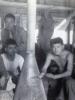 "Martin Iida, Higa, ""Kat"" Funamura, Noboru ? 1943 In hut --- Camp Shelby, Miss.  (Courtesy of Dorothy Inouye)"
