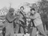 "Aoki and ""Fat"" Sagamoto partake in Thanksgiving on the mountain border between Menton, France and Italy, 1944. [Courtesy of Don Matsuda]"