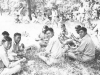 While training out in the fields. Taken while training out in the field. Having our lunch. July 8, 1942. [Courtesy of Leslie Taniyama]
