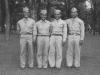Taken July 5, 1942 at Tomah, Wisconsin.  Left to right- Fred Kanemura, myself, James Komatsu and Richard Oguro.  [Courtesy of Jan Nadamoto]