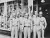 Left to Right:  Mames Komatsu, Richard Oguro, Thomas K. Tsubota, myself, K. Takehara, Yokota & Toshio Kawamoto. Taken on July 4, 1942.  [Courtesy of Jan Nadamoto]