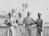 Taken July 12, 1942 at Grant's Park, right alongside Lake Michigan, right before the spouting fountain.  Fred Kanemaru, James Komatsu, Chunki Shimabukuro, and myself.  [Courtesy of Jan Nadamoto]