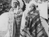 Chief Blow Snake and daughter.  Taken August 9, 1942 at Wisconsin Dells Park.   The Chief (I didn't get his name) and his daughter gladly posed for us.  The dome shaped tent in background is their home.  [Courtesy of Jan Nadamoto]