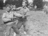 Oct. 6, 1942 on drill at New Camp McCoy, Wisconsin.   Trying out some defensive tactics.  [Courtesy of Jan Nadamoto]
