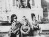 "Taken Oct. 12, 1942 at Wisconsin U.  L to R, first row-Chonichi Shimabuku, Takechi Tanabe. Rear. Myself, George ""Dopey"" Kurakabe, Yukio Yokota.  We saw Ohio State-Wisconsin Game thid day - 17-7  favor Wisconsin U.  [Courtesy of Jan Nadamoto]"