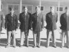 Our Officers.  Extreme left is our first Sgt.  Picture of our officers taken Oct. 10, 1942 at New Camp McCoy.  From Left to Right. 1st Lt. Ernest Tanaka, 2nd Lt. McKelvey, Capt. Clarence R. Johnson, 2nd Lt. Lee Blood and 2nd Lt. Kenneth Eaton.  The are all 1st Lts. now). Missing from pictue is 1st. Lt. Richard Mizuta.  [Courtesy of Jan Nadamoto]