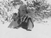 November 29, 1942 Tasting snow to see how it tastes.  The snow is soft and light.  [Courtesy of Jan Nadamoto]