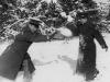 November 29, 1942 A mock snow fight-Yukio Takehara and myself.  [Courtesy of Jan Nadamoto]