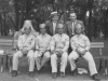 Taken July 5, 1942 at park in Tomah, Wisconsin.  Sitting left to right: Fred, myself, Jimmy & Richard.  Standing left to right:  Mr Gantenbien (Lansing, Iowa)  & Mr. Maxwell (Westby, Wis.).  [Courtesy of Jan Nadamoto]