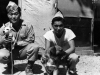 Akira Hata and Jack Morita hang out with Company B's pets while in Italy [Courtesy of Robert Arakaki]