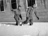 Soldiers walk through the first snowfall, Camp McCoy, November 1942 [Courtesy of Fumie Hamamura]