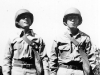 Stanley Hamamura and Sueo Noda with gas masks, in Hawaii, winter 1942 [Courtesy of Fumie Hamamura]