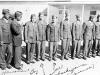 Soldiers at Camp McCoy, Wisconsin, 1942.  Edward Kaholokula, ?, Kobashigawa, Sonsei Nakamura, James Kawashima, ?, Robert Ozaki, Yutaka Nezu [Courtesy of Sonsei Nakamura] Inscription: Hawaiian Boy, Kobashigawa (Waianae), me