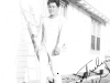 Tokuji Ono in long thermal underwear on Ship Island, Mississippi, 1942 [Courtesy of Leslie Taniyama] Inscription: Yours Truly, Bullie(?) Reverse: Jan '42 Ships Island
