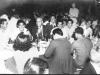 Yamada, Inouye, Col. Turner, Matsuo, Sumida, Oshiro at a party after the war.  Shoyu Teahouse 1946. L to R: Hifumi Yamada, Yutaka Inouye, Col. Turner, Fred Matsuo, Leighton Sumida, Paul Oshiro. Back to Camera: Takeo Takahashi, Ernest Sasaki [Courtesy of Goro Sumida]