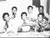 At the Shoyu Tea House in 1946, Back row : Takeo Takahashi, Wasato Harada, Ernest Sasaki.  Front row:  Chikami Hirayama, Goro Sumida, Fred Matsuo [Courtesy of Goro Sumida] Inscription: Reverse: KT. Shoyu Tea House 1946. Back: Takeo Takahashi, Wasato Harada, Ernest Sasaki. Front: Chikami Hirayama, Goro Sumida, Fred Matsuo