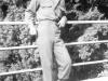 "Earl ""Windy"" Yonehio posing on a bridge in Nice, France. [Courtesy of Mrs. William Takaezu]"