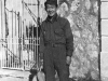 James Kawashima prepares to cook in makeshift quarters in Paris, France. [Courtesy of Mrs. William Takaezu]