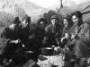 The C.R. Gang (William Takaezu, Kenneth Kaneko, Herbert Ishii, Fuji, Yozo Yamamoto, Sugi) at chow time in the Alpes-Maritimes. [Courtesy of Mrs. William Takaezu]