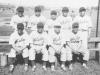 Outfielder members of the Aloha team. Standing (l-r) Honbo, Shiyama, Miyagi, Nozaki, Fukuda.  Siting (l-r) Takeba, Kaneko, Yamashita, Takata [Courtesy of Sandy Tomai Erlandson]