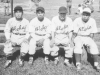 Infielders on the Aloha team: Fumi Taniyama, Hamamura, Fred Wada, Tod Ohta. [Courtesy of Sandy Tomai Erlandson]