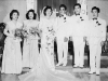 The wedding of Stanley Teruya and Frances Yonamine with Goro Sumida as best man and Richard Yamamoto in the wedding party