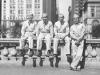 Me, Sub, Beefa and Morikawa at Park with city in back of us. [Courtesy of Leslie Taniyama]
