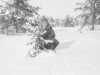 Joe Nakahara plays in the snow at Camp McCoy, Wisconsin, winter 1942. [Courtesy of Velma Nakahara]