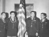Four of the eighteen original 100th Battalion officer from left to right: 1st Lt. Shigeru Tsubota, Capt. Kiyoshi Kuramoto, Major Mitsuyoshi Fukuda, 1st Lt. Sparky Matsunaga.
