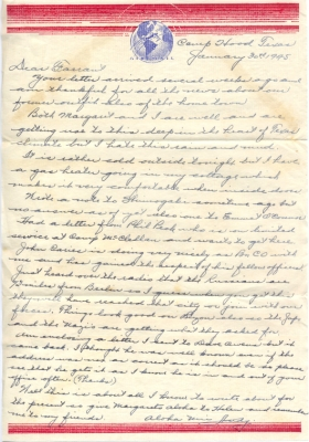 Letter to Colonel Farrant Turner from Col. WA Anderson, Camp Hood, TX, January 30, 1945