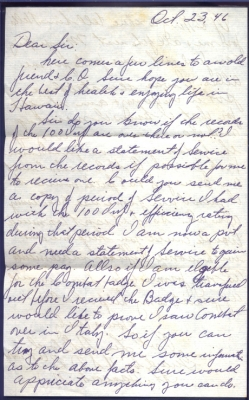 Pvt. Lee H Blood, October 23, 1946 (page 1)