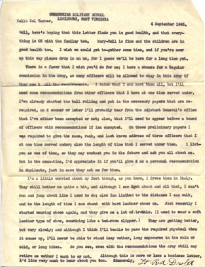 Letter to Colonel Farrant Turner from Lt RA Drolet, Greenbrier Military School, Lewisburg, West Virginia, September 4, 1945