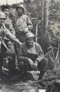 Col. Conley, Chaplain Yost and Captain Kometani during their last Campaign in Italy, April 1945. (Courtesy of Fumie Hamamura)